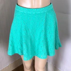L'Amour Nanette LePore Green Lace Mini Skirt Sz S